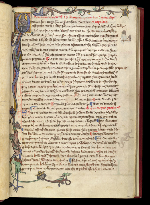 Historiated Initial And Border, In Martin Of Troppau's 'Chronicle Of Roman Emperors And Popes'
